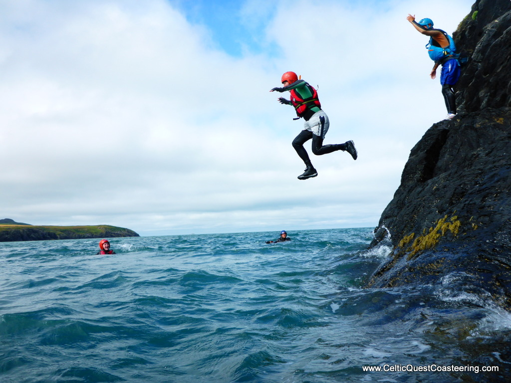 Junping off a cliff in Pembrokeshire